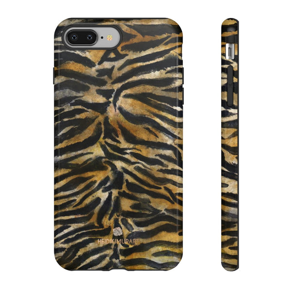 Brown Tiger Striped Tough Cases, Animal Print Best Designer Phone Case-Made in USA-Phone Case-Printify-iPhone 8 Plus-Glossy-Heidi Kimura Art LLC