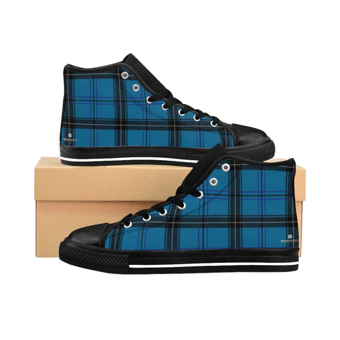 Blue Plaid Women's Sneakers, Preppy Tartan Print Designer High-top Fashion Tennis Shoes-Shoes-Printify-Black-US 9-Heidi Kimura Art LLCBlue Plaid Women's Sneakers, Preppy Tartan Print Designer Women's High-top Sneakers Running Tennis Shoes (US Size: 6-12)