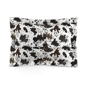 Cow Print Lightweight Woven Microfiber Pillow Sham, Standard/King Size, Made in USA (Sizes: King/Standard)-Pillow Sham-Standard-Heidi Kimura Art LLC Cow Print Pillow Sham, Cow Print Lightweight Woven Microfiber Pillow Sham With Envelope Closure, Standard/King Size, Made in USA (Sizes: King/Standard)