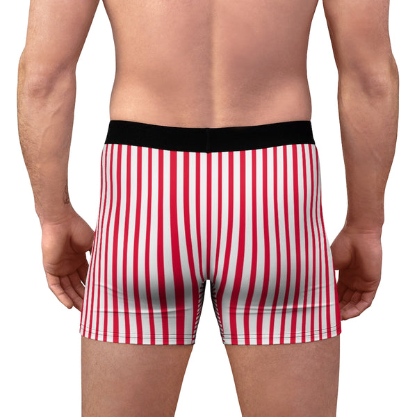 Red Striped Men's Boxer Briefs, Vertical Stripe Print Premium Quality Underwear For Men-All Over Prints-Printify-Heidi Kimura Art LLC  Red Striped Men's Boxer Briefs, Vertical Stripe Print Sexy Hot Men's Boxer Briefs Hipster Lightweight 2-sided Soft Fleece Lined Fit Underwear - (US Size: XS-3XL)