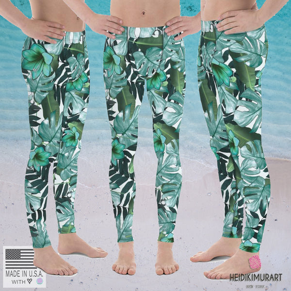 Green Tropical Leaf Print Sexy Men's Leggings Tights Compression Workout Pants-Men's Leggings-Heidi Kimura Art LLC Green Tropical Leaf Meggings, Green Tropical Leaf Print Sexy Men's 38-40 UPF Leggings Tights Compression Workout Pants - Made in USA/EU (US Size: XS-3XL)