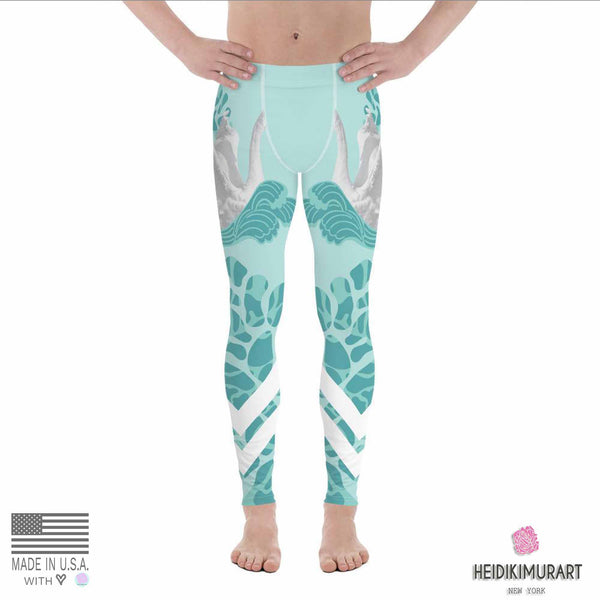 Swan Light Blue Designer Elastic Men's Leggings Tights Stretchy Pants - Made in USA/EU-Men's Leggings-Heidi Kimura Art LLC