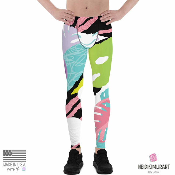 Tropical Leaf Print Designer Men's Leggings Tights Pants - Made in USA/EU (US Size: XS-3XL)-Men's Leggings-Heidi Kimura Art LLC