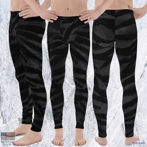 Boss Black Tiger Stripe Animal Print Men's Yoga Pants Running Leggings & Tights- Made in USA/ Europe (US Size: XS-3XL)