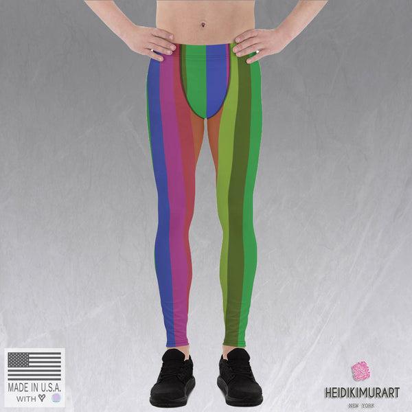Rainbow Colorful Vertical Stripe Vintage-Style Men's Leggings Meggings- Made in USA/EU-Men's Leggings-Heidi Kimura Art LLC