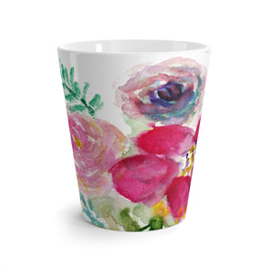 Floral Rose Ceramic Mug, Mixed Floral 12 Oz. Cute Pink Rose Flower Floral Print Ceramic Latte Mug, Microwave-Safe, Dishwasher-Safe Feminine Floral Tea Coffee Cup -Made in USA Mixed Florals 12 Oz. Cute Pink Rose Flower Floral Print Ceramic Latte Mug-Made in USA-Mug-12oz-Heidi Kimura Art LLC