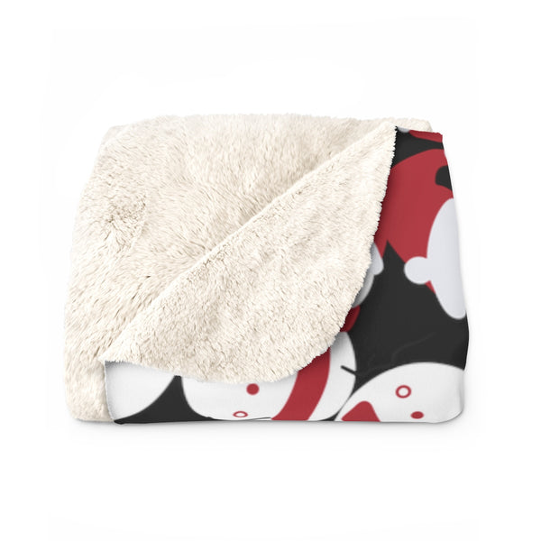 Black White Red Christmas Cute Fluffy Snowman Print Cozy Sherpa Fleece Blanket-Blanket-Heidi Kimura Art LLC