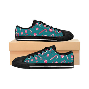 Teal Blue Red White Candy Cane Christmas Print Men's Low Top Sneakers (US Size: 6-14)-Men's Low Top Sneakers-Black-US 9-Heidi Kimura Art LLC