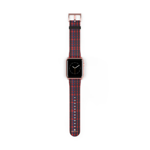 Red Blue Plaid Tartan Print 38mm/42mm Watch Band For Apple Watch- Made in USA-Watch Band-42 mm-Rose Gold Matte-Heidi Kimura Art LLC