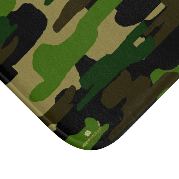 Green Camo Army Military Camoflage Print Premium Soft Microfiber Bath Mat- Printed in USA-Bath Mat-Heidi Kimura Art LLC
