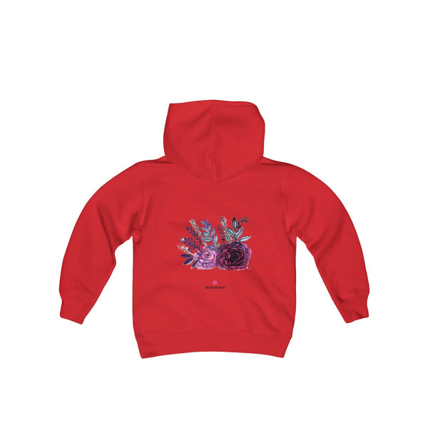 Cute Floral Purple Rose Print Girls Kids Heavy Blend Hooded Sweatshirt - Made in USA-Kids clothes-Red-S-Heidi Kimura Art LLC
