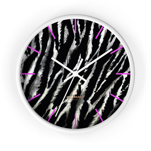 Hisoka Black White Zebra Animal Print 10 in. Dia. Indoor Wall Clock- Made in USA