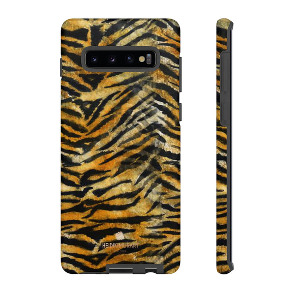 Orange Tiger Striped Phone Case, Animal Print Tough Cases, Designer Phone Case-Made in USA-Phone Case-Printify-Samsung Galaxy S10 Plus-Matte-Heidi Kimura Art LLC