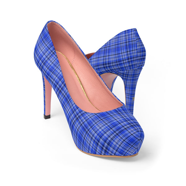 Scottish Blue Tartan Plaid Print Women's Platform Heels Stiletto Pumps (US Size: 5-11)-4 inch Heels-Heidi Kimura Art LLC