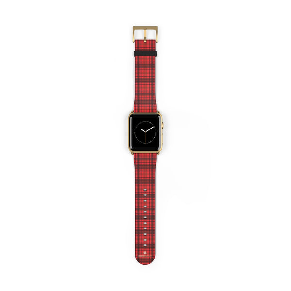 Scottish Red Tartan Plaid Print 38mm/42mm Watch Band For Apple Watch- Made in USA-Watch Band-42 mm-Gold Matte-Heidi Kimura Art LLC