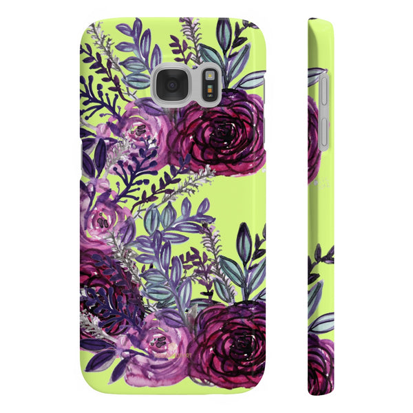 Yellow Slim iPhone/ Samsung Galaxy Floral Purple Rose iPhone or Samsung Case, Made in UK-Phone Case-Samsung Galaxy S7 Slim-Glossy-Heidi Kimura Art LLC