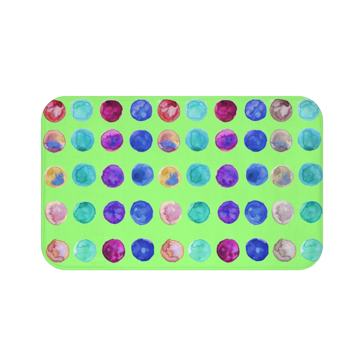 "Polka Dot Colorful Dots Cute Anti-Slip Microfiber 34""x21"", 24""x17"" Bath Mat-Bath Mat-Large 34x21-Heidi Kimura Art LLC"