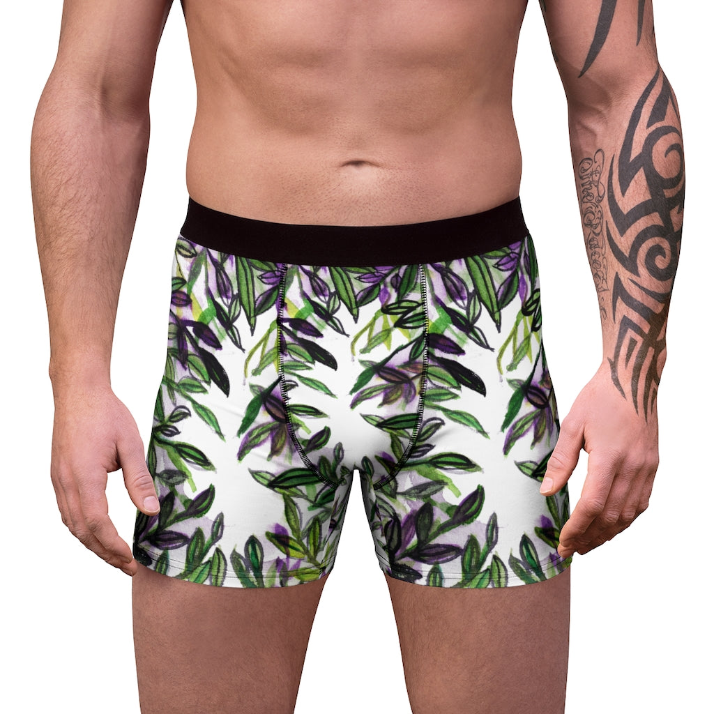 Tropical Men's Boxer Briefs, Hawaiian Style Leaf Print Premium Quality Underwear For Men-All Over Prints-Printify-L-Black Seams-Heidi Kimura Art LLC Tropical Men's Boxer Briefs, Hawaiian Style Leaf Print Premium Quality Sexy Modern Hot Men's Boxer Briefs Hipster Lightweight 2-sided Soft Fleece Lined Fit Underwear - (US Size: XS-3XL)