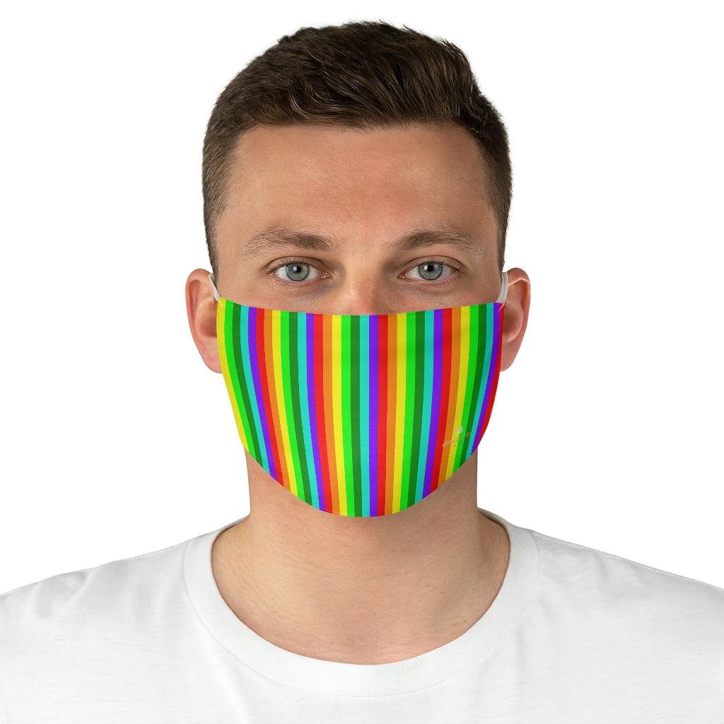 "Rainbow Vertically Striped Face Mask, Gay Pride Colorful Fashion Face Mask For Men/ Women, Designer Premium Quality Modern Polyester Fashion 7.25"" x 4.63"" Fabric Non-Medical Reusable Washable Chic One-Size Face Mask With 2 Layers For Adults With Elastic Loops-Made in USA"