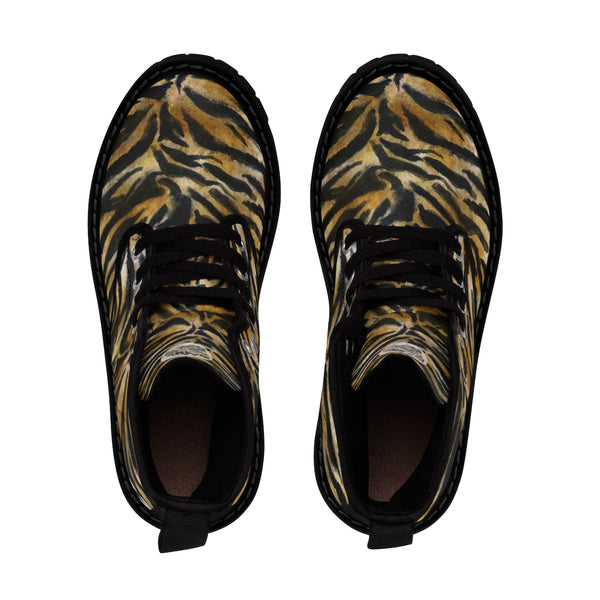 Fierce Wild Tiger Striped Animal Print Designer Men's Lace-Up Winter Boots Men's Shoes (US Size: 7-10.5)-Men's Boots-Heidi Kimura Art LLC