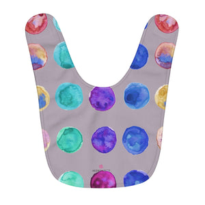 Pastel Gray Cute Colorful Polka Dots Pattern Fleece Baby Bib - Designed and Made in USA-Baby Bib-One Size-Heidi Kimura Art LLC
