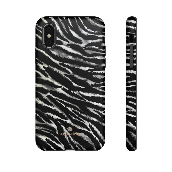 White Tiger Stripe Phone Case, Animal Print Tough Designer Phone Case -Made in USA-Phone Case-Printify-iPhone XS-Matte-Heidi Kimura Art LLC