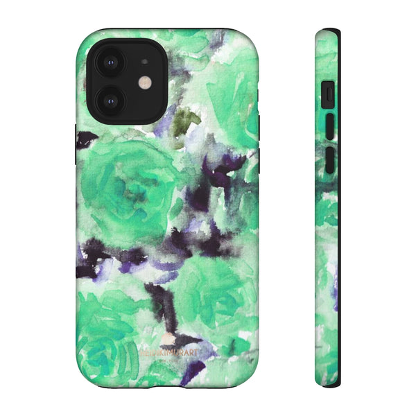Turquoise Floral Print Tough Cases, Designer Phone Case-Made in USA-Phone Case-Printify-iPhone 12-Matte-Heidi Kimura Art LLC