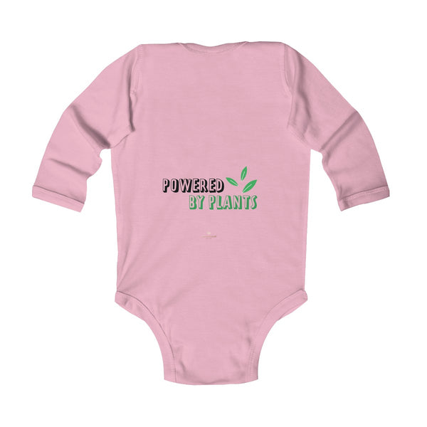 Cute Powered By Plants Vegan Baby Boy/Girls Infant Kids Long Sleeve Bodysuit - Made in USA-Infant Long Sleeve Bodysuit-Heidi Kimura Art LLC