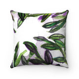 Tamiko Abundance Green Tropical Leaves Print Luxury Faux Suede Square Pillow - Made in USA - Heidi Kimura Art LLC