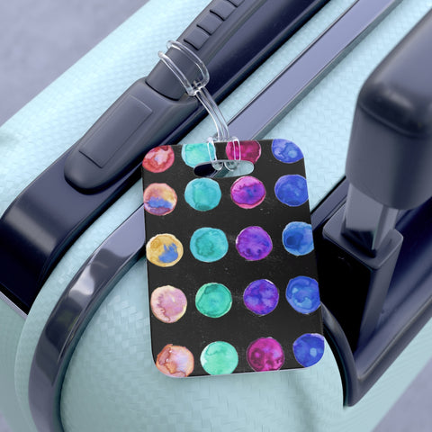 Yuki Cute Watercolor Polka Dots Designer Travel Luggage Suitcase Bag Tag - Made in USA