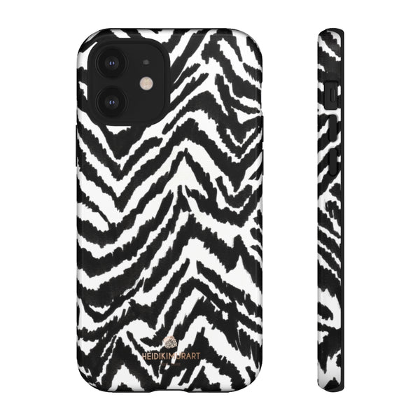 White Tiger Stripe Phone Case, Animal Print Best Tough Designer Phone Case -Made in USA-Phone Case-Printify-iPhone 12-Glossy-Heidi Kimura Art LLC