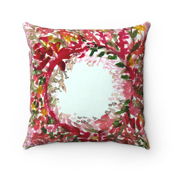 Cute Red and Yellow Fall Floral Wreath Spun Polyester Square Pillow - Made in USA-Pillow-Heidi Kimura Art LLC