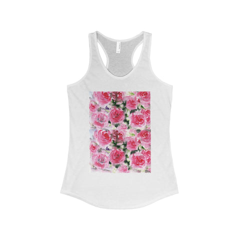 Niou Pink Rose Designer Best Floral Women's Ideal Racerback Tank - Made in the U.S.A.-Tank Top-Solid White-L-Heidi Kimura Art LLC