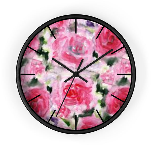 Pink Garden Rose Floral Rose Flower Print 10 inch Diameter Wall Clock - Made in USA-Wall Clock-Black-Black-Heidi Kimura Art LLC Pink Floral Wall Clock, Pink Garden Rose Floral Rose Flower Print 10 inch Diameter Wall Clock - Made in USA