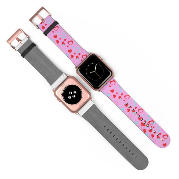 Light Pink Hearts Shaped V Day 38mm/42mm Watch Band For Apple Watches- Made in USA-Watch Band-Heidi Kimura Art LLC