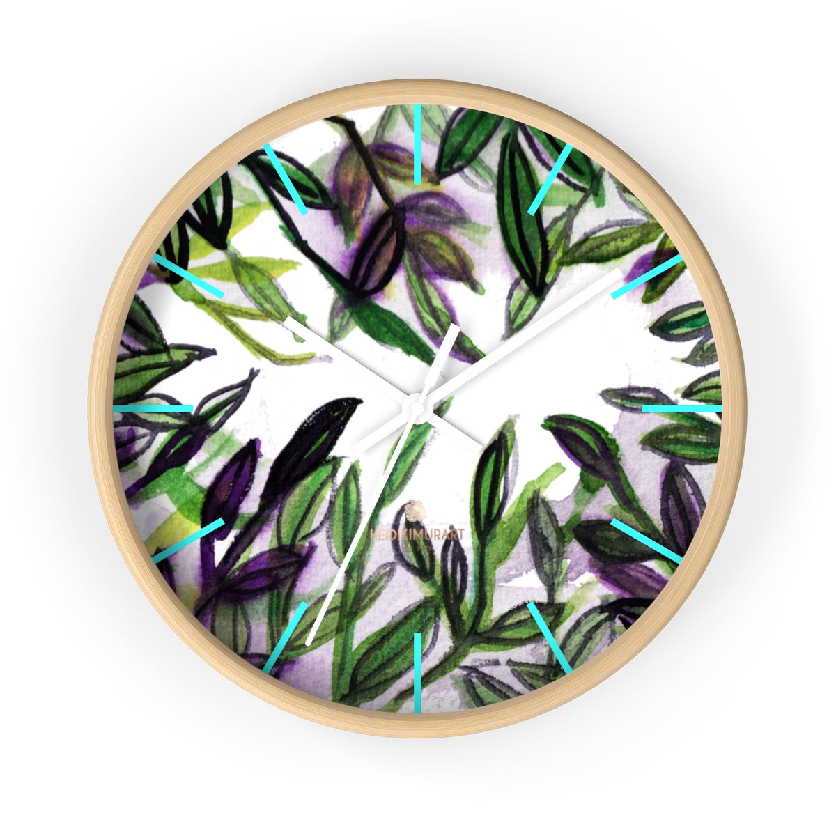 Green Purple Tropical Leaf Print Designer 10 in. Dia. Indoor Wall Clock- Made in USA-Wall Clock-10 in-Wooden-White-Heidi Kimura Art LLC