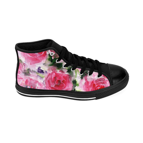 Pink Abstract Men's High-top Sneakers, Rose Floral Print Designer Men's High-top Sneakers Running Tennis Shoes, Floral High Tops, Mens Floral Shoes, Abstract Rose Floral Print Sneakers For Men (US Size: 6-14)
