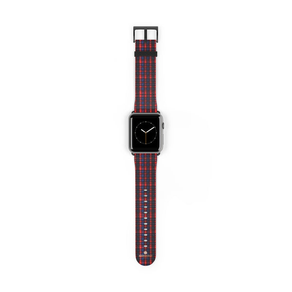 Red Blue Plaid Tartan Print 38mm/42mm Watch Band For Apple Watch- Made in USA-Watch Band-42 mm-Black Matte-Heidi Kimura Art LLC