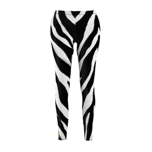 Women's Designer Zebra Stripe Animal Print Skinny Fit Casual Leggings - Made in USA-Casual Leggings-White Seams-M-Heidi Kimura Art LLC
