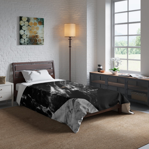 Gray Blue White Marble Print Best Comforter For King/Queen/Full/Twin Bed-Made in USA-Comforter-Heidi Kimura Art LLC