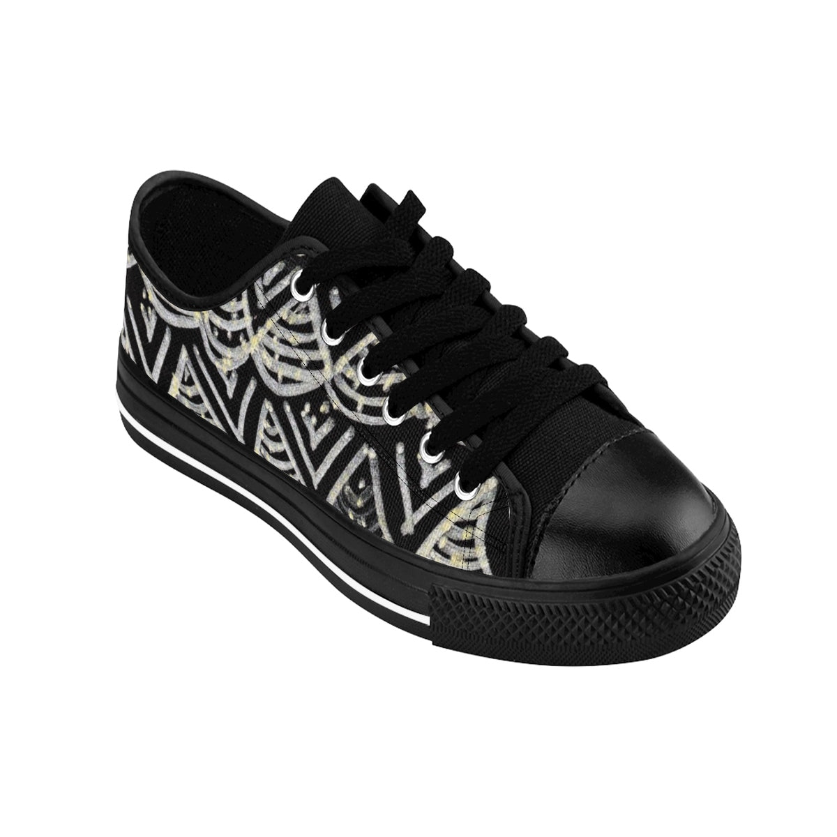 Black Chevron Pattern Mermaid King Men's Low Top Nylon Canvas Tennis Sneakers Shoes-Men's Low Top Sneakers-Black-US 9-Heidi Kimura Art LLC