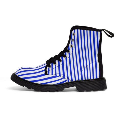 Blue Stripes Women's Canvas Boots, Best White Blue Striped Winter Boots Shoes For Ladies-Shoes-Printify-Heidi Kimura Art LLCBlue Striped Women's Canvas Boots, Vertically White Striped Print Designer Women's Winter Lace-up Toe Cap Boots Shoes For Women (US Size 6.5-11)