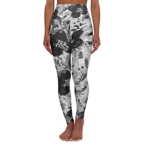 Floral High Waisted Yoga Leggings, Black Grey White Flower Print Women's Tights-All Over Prints-Printify-XS-Heidi Kimura Art LLC Floral High Waisted Yoga Leggings, Black Grey White Flower Print Best Ladies High Waisted Skinny Fit Yoga Leggings With Double Layer Elastic Comfortable Waistband, Premium Quality Best Stretchy Long Yoga Pants For Women-Made in USA
