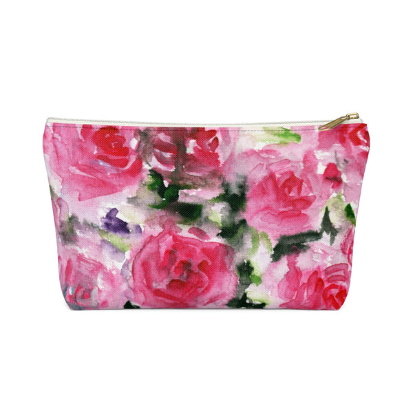 Rose Floral Print Accessory Pouch with T-bottom Makeup Bag - Made in USA-Accessory Pouch-White-Large-Heidi Kimura Art LLC