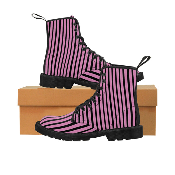 Pink Striped Print Men's Boots, Black Stripes Best Hiking Winter Boots Laced Up Shoes For Men-Shoes-Printify-Heidi Kimura Art LLCPink Striped Print Men's Boots, Black Pink Stripes Men's Canvas Hiking Winter Boots, Fashionable Modern Minimalist Best Anti Heat + Moisture Designer Comfortable Stylish Men's Winter Hiking Boots Shoes For Men (US Size: 7-10.5)