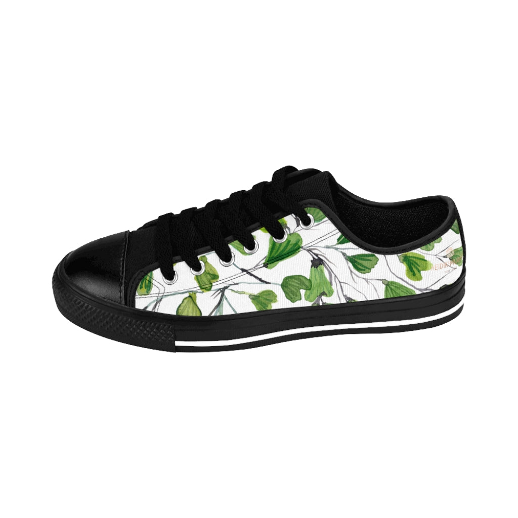 Green Maidenhair Print Men's Sneakers, Best Tropical Leaf Print Men's Low Top Tennis Shoes-Shoes-Printify-Black-US 9-Heidi Kimura Art LLC White Green Maidenhair Men's Sneakers, Best Tropical Leaf Print Premium Men's Nylon Canvas Tennis Fashion Sneakers Shoes (US Size: 7-14)