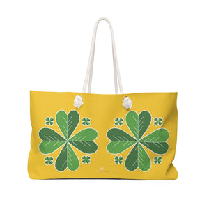 "Yellow Green Clover Leaf St. Patrick's Day Irish Print 24""x13""Weekender Bag- Made in USA-Weekender Bag-24x13-Heidi Kimura Art LLC"