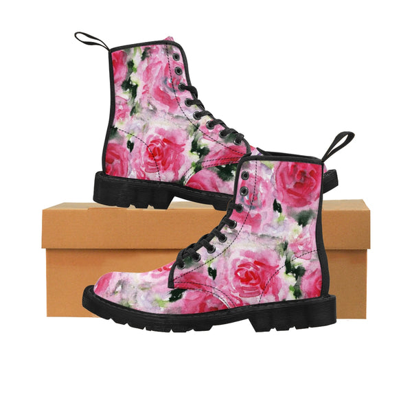 Pink Rose Floral Print Designer Women's Winter Lace-up Toe Cap Boots Shoes (US 6.5-11)-Women's Boots-Heidi Kimura Art LLC Pink Rose Floral Women's Boots, Pink Rose Floral Print Designer Women's Winter Lace-up Toe Cap Boots Shoes (US Size: 6.5-11)