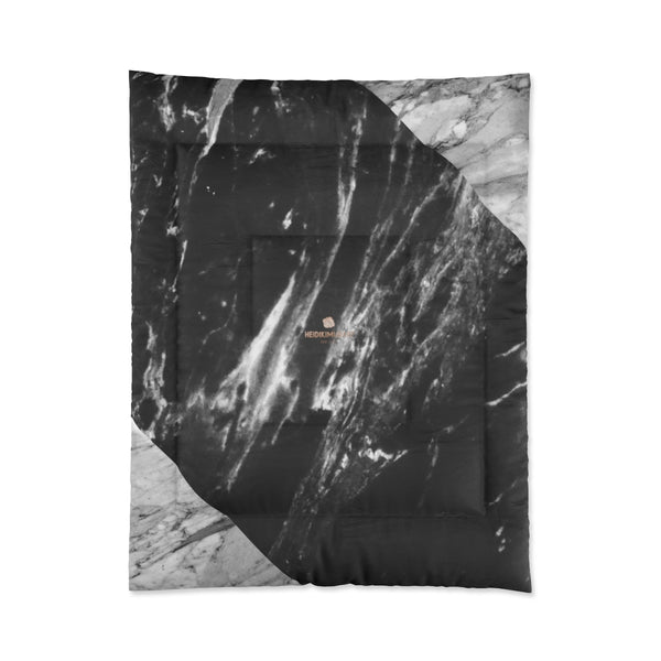 Gray Black White Marble Print Comforter For King/Queen/Full/Twin Bed - Made in USA-Comforter-68x88 (Twin Size)-Heidi Kimura Art LLC