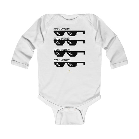 "Funny ""Deal With It"" Cute Baby Boy/Girls Infant Kids Long Sleeve Bodysuit -Made in USA-Infant Long Sleeve Bodysuit-White-18M-Heidi Kimura Art LLC"
